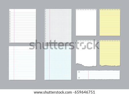 Set of different notebook pages and pieces of torn notebook paper. Vector illustration
