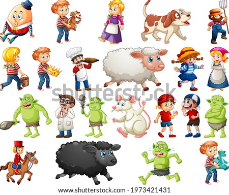 Set of different nursery rhyme character isolated on white background illustration Stock photo ©