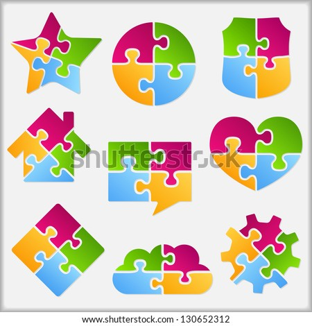 Set of different objects made of puzzle pieces, design elements for your logo, vector eps10 illustration