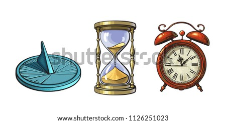 Set of different old clocks. Sundial, Hourglass, Alarm clock. Hand drawn vector illustration in vintage style isolated on white background.