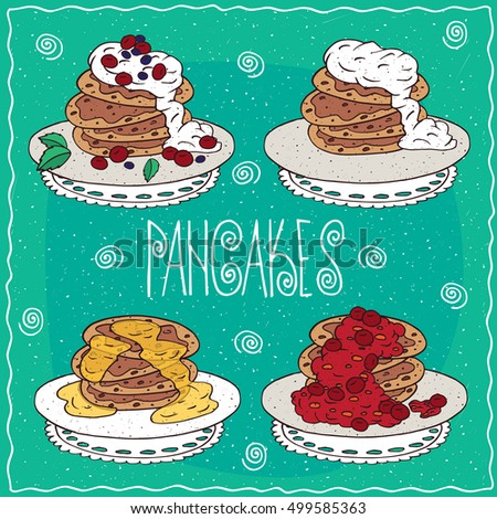 set of different pancakes  with