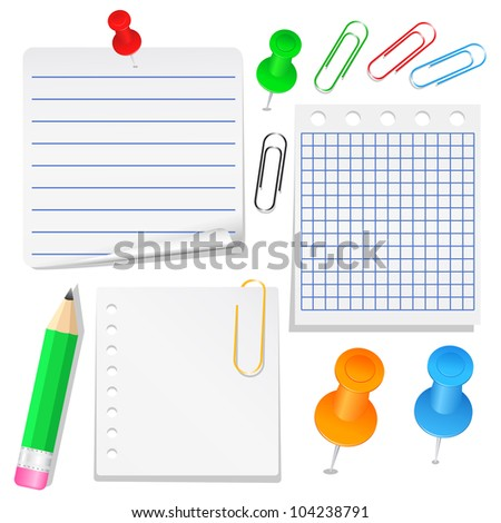 Set of different paper, push pins and clips, vector eps10 illustration