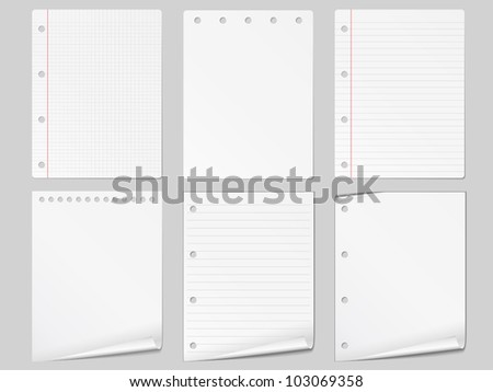 Set of different paper, vector eps10 illustration