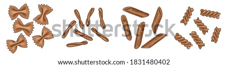 Set of different pasta types: farfalle, casarecce, fusilli, and penne. Illustration of Italian cuisine staples. Uncooked pasta isolated on white background. Vector illustration of whole-wheat pasta. ストックフォト ©