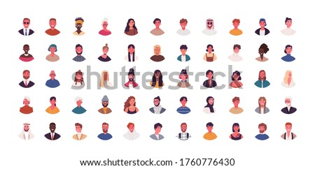 Set of different people avatars vector flat illustration. Collection of diverse man and woman portraits isolated on white. Smiling colorful young and adult person. Bundle of multiethnic user avatar