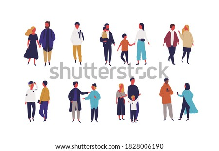 Set of different people - couple, family and friends vector flat illustration. Collection of various men, women and children talking, walking, use smartphone, spending time together isolated