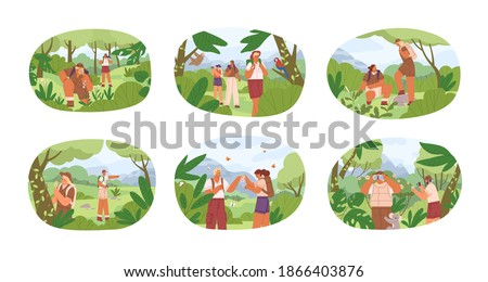 Set of different people exploring nature vector flat illustration. Collection of man and woman explorers contemplate to animals, plants isolated on white. Researchers use binocular and magnifier