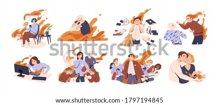 Set of different people in fire vector flat illustration. Collection of man and woman feeling stress at work, anger, or love surrounded by flame isolated on white. Concept of emotional expression Foto stock ©