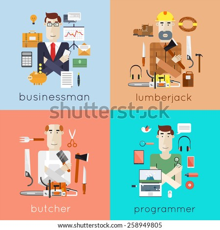 Set of different people professions characters with tools icons. Businessman, programmer, butcher, lumberjack. Set of vector illustration in modern flat style.