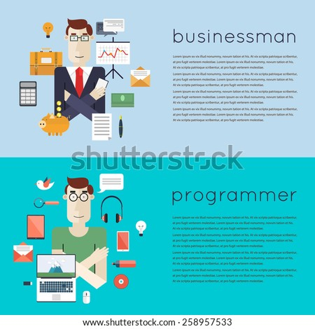 Set of different people professions characters with tools icons. Businessman, programmer. Set of vector illustrations in modern flat style.