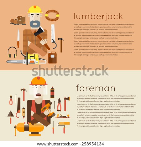Set of different people professions characters with tools icons. Foreman, lumberjack. Set of vector illustrations in modern flat style.