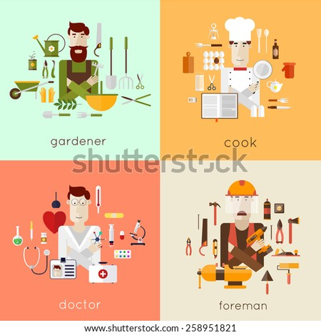 Set of different people professions characters with tools icons. Gardener, cook, doctor, foreman. Set of vector illustration in modern flat style.