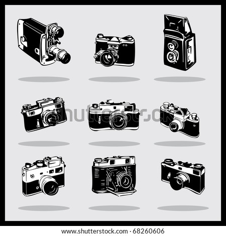 Set of different photocamers. vector