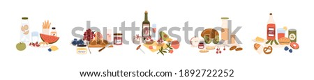 Set of different picnic food and drinks: snacks, fruits, desserts, sweets, bread, sandwich, avocado, bottles of wine, lemonade and juice. Colored flat vector illustration isolated on white background.