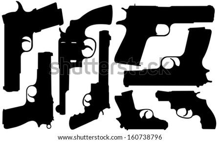 set of different pistols
