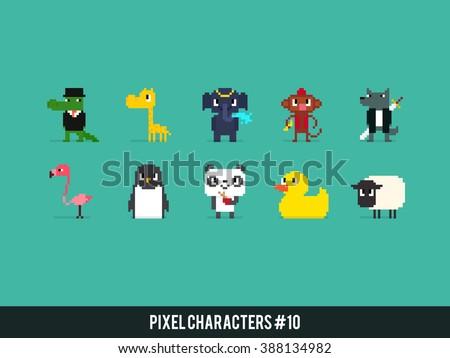 set of different pixel art