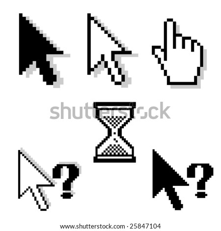 set of different pixel-cursors