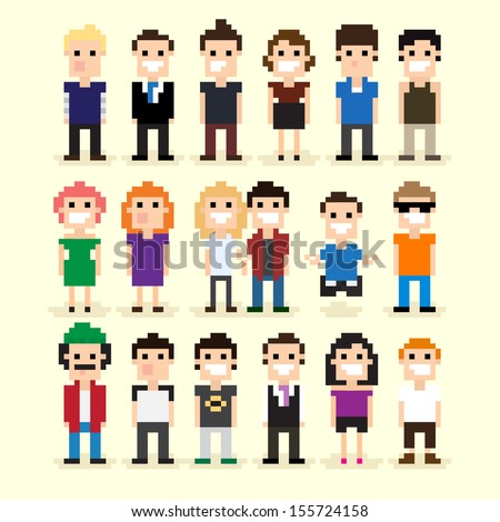 Set of different pixel people vector illustration