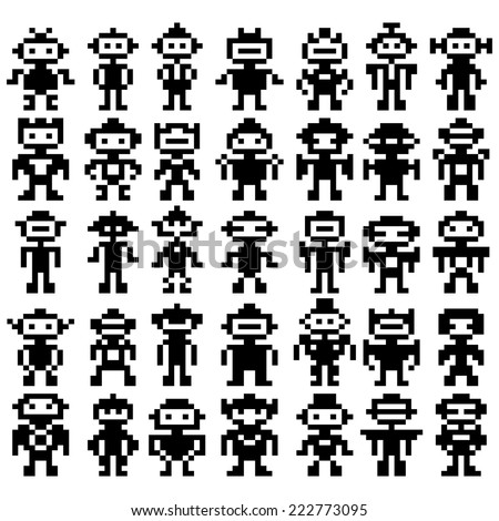 set of different pixel robots