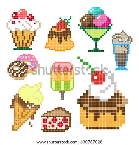 Set of different pixel sweets isolated on white background. Vector illustration