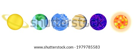 set of 6 different planets of