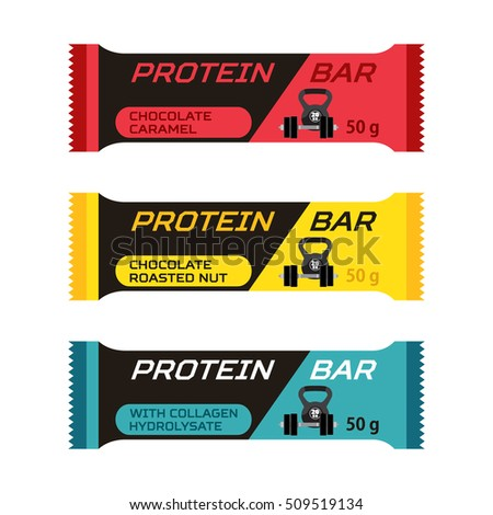 Set of different protein bars, sport collagen supplement. Flat style.