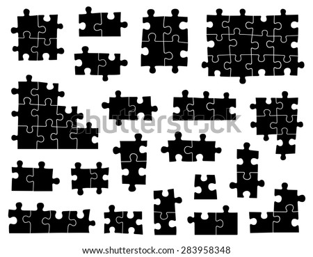 Set of different puzzle pieces isolated on white