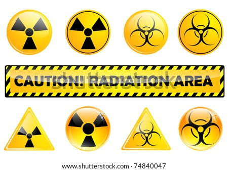 set of different radiation signs over white