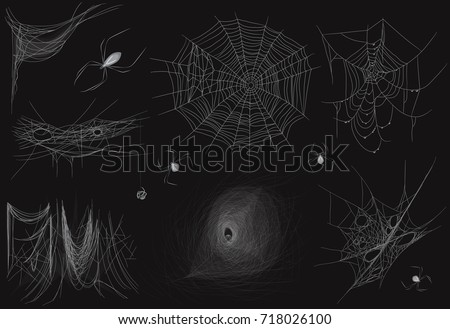 Set of different realistic vector thin Cobweb spider web on black background.