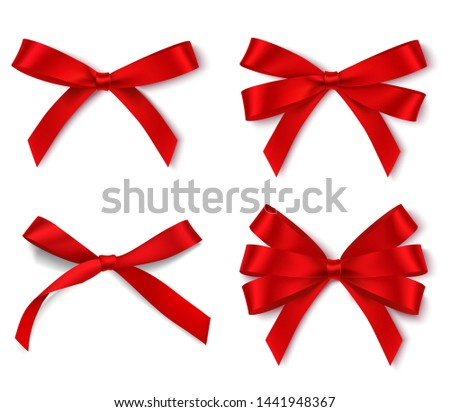 Set of different red bows for holiday design isolated on white. Vector illustration