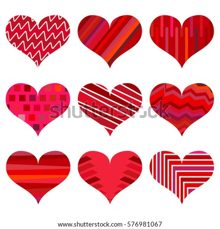 set of different red hearts