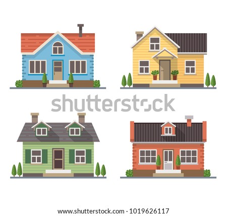 set of 4 different residential