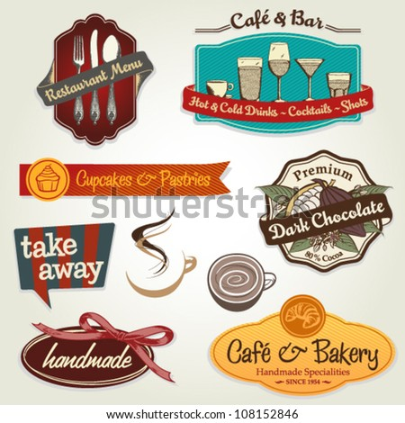 set of different retro label, sticker and icons for restaurants, bars, cafes, take away, coffee to go
