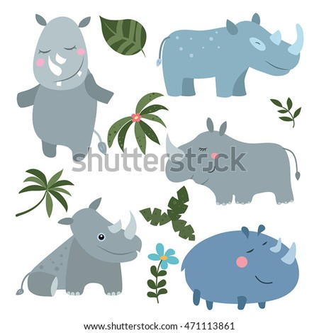 Set of different rhinoceroses on white background.