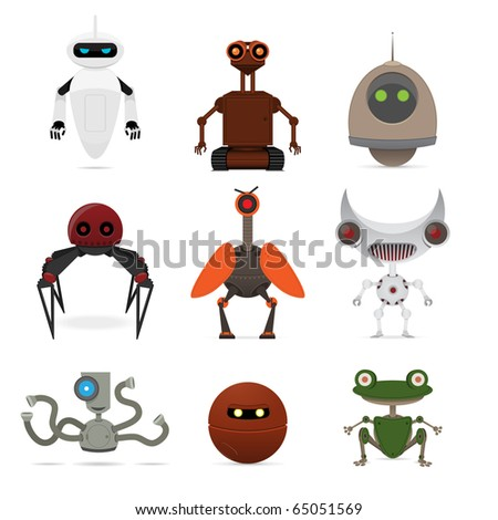 Set of different robots. Vector illustration.