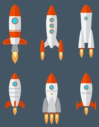 Set of different rockets. Space technology in cartoon style.