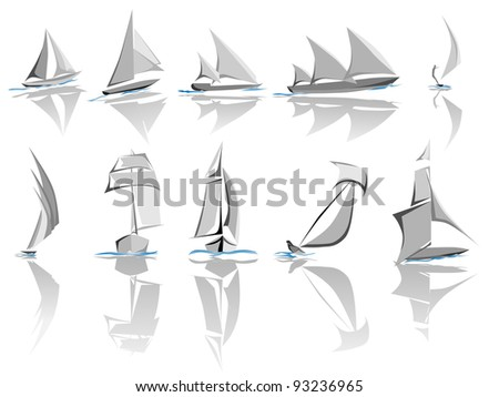 Set of different sailing ships icon (simple vector).