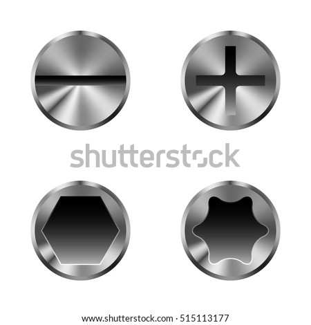 Set of different screw caps, isolated on white
