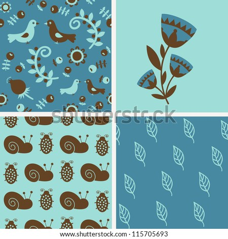 Set of 4 different seamless patterns with flowers, birds and insects. Vector illustration.
