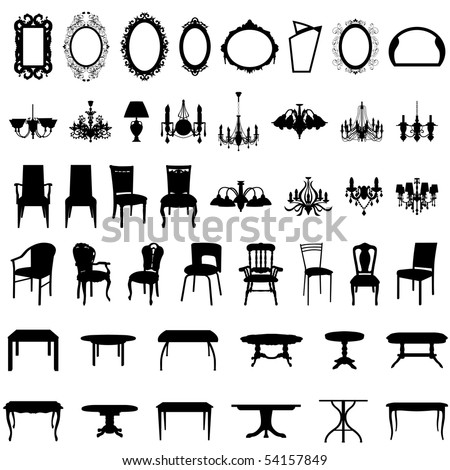 Set of Different Shape Furniture Silhouettes.  Elegant Royal Baroque Style and Modern Designs of Mirrors, Chairs, Armchairs, Scones and Luster. High Detail and Very Smooth. Vector illustration.