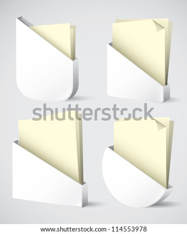 Set of different shaped paper holder - vector illustration