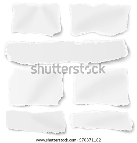 Set of different shapes blank paper scraps placed on white background
