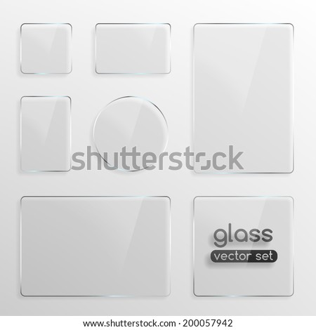 Set of different shapes glass plates . Photo realistic vector illustration #200057942