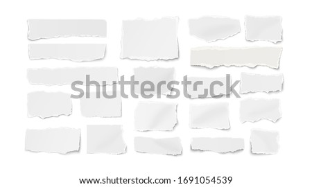 Set of different shapes ripped paper tears isolated on white background. Vector illustration. Foto stock ©