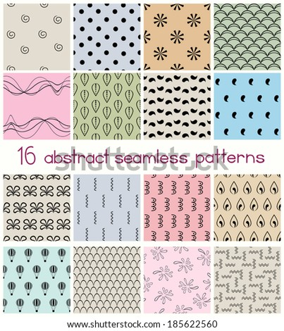Set of 16 different shapes seamless patterns. Abstract geometric patterns collection. Endless textures for printing, fabrics, paper or scrap booking. Vector file EPS8, each pattern is grouped apart.