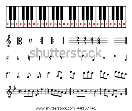 set of different sheet music symbols with piano keyboard