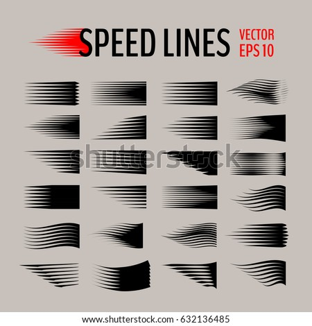 Set of different simple black vector speed line.
