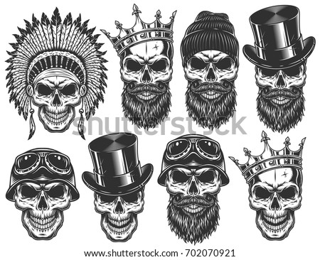 set of different skull...