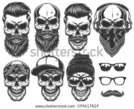 set of different skull