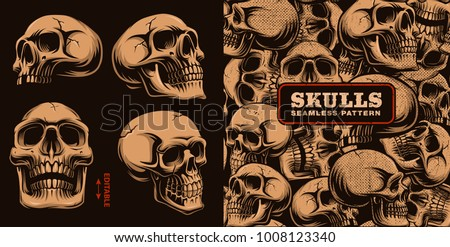 Set of different skulls with seamless pattern on dark background.